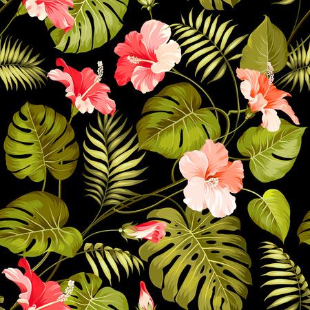 hibisco: Flor tropical inconsútil. Flor de las flores de fondo sin fisuras patrón. Ilustración del vector.