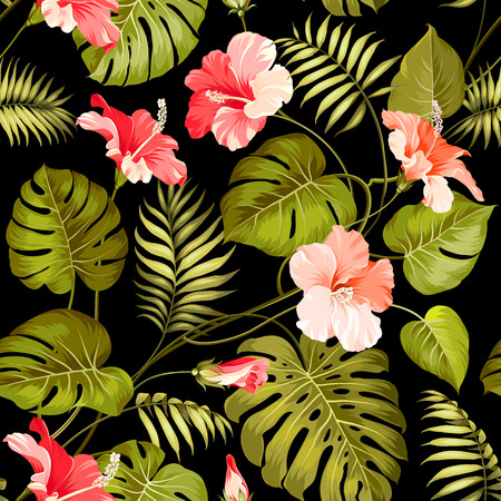 tropical leaves: Seamless tropical flower. Blossom flowers for seamless pattern background. Vector illustration. Illustration
