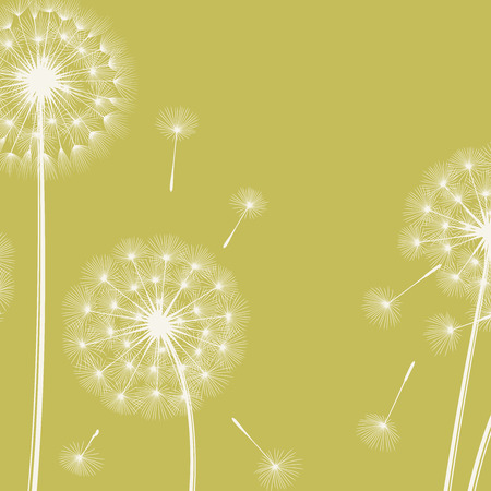 blowing: Happy holiday card with dandelions. Vector illustration.