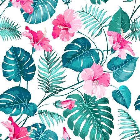 Blossom flowers for seamless pattern background. Vector illustration. 矢量图像