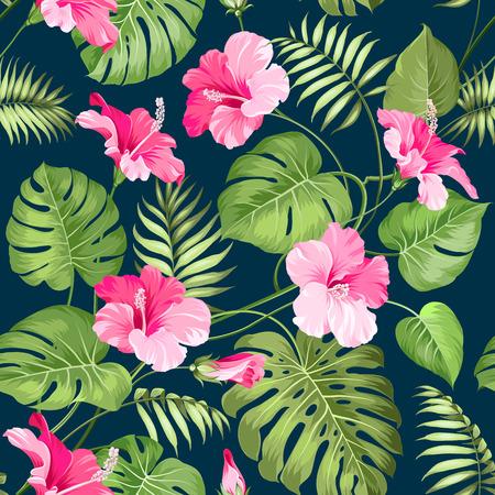 熱帯の花のシームレスなパターン。花、自然の背景の花。ベクトルの図。