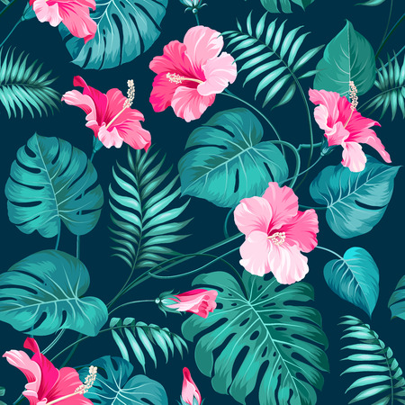 tropical leaves: Tropical flower seamless pattern. Blossom flowers for nature background. Vector illustration.