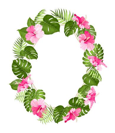 borde de flores: Marco de la flor tropical para su diseño de la tarjeta con el espacio claro para el texto. Ilustración del vector.