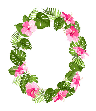flower border: Tropical flower frame for your card design with clear space for text. Vector illustration.