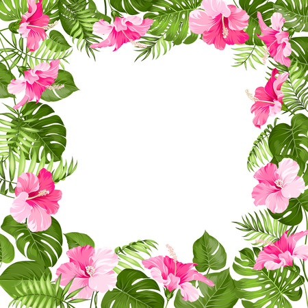 palm wreath: Tropical flower frame for your card design with clear space for text. Vector illustration.