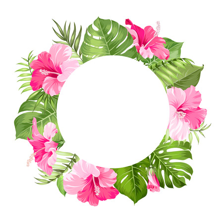 Tropical flower frame for your card design with clear space for text. Vector illustration.