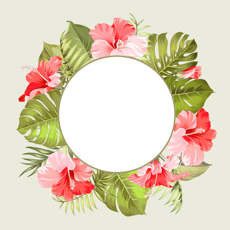 foliage: Tropical flower frame for your card design with clear space for text. Vector illustration.
