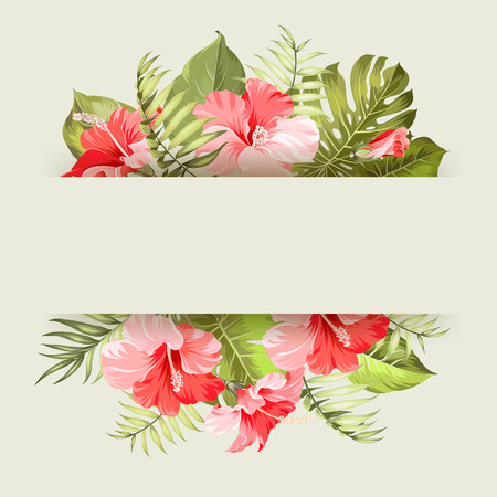flower border: Blossom flowers bouquet with text space. Vector illustration.