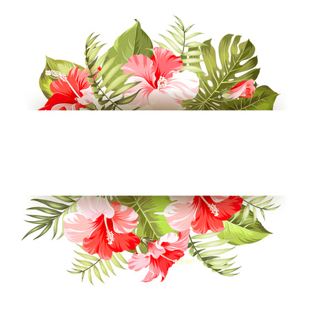 palm wreath: Blossom flowers bouquet with text space. Vector illustration.