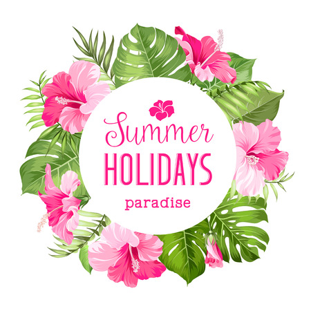 Tropical flower frame with summer holidays text. Vector illustration.  イラスト・ベクター素材