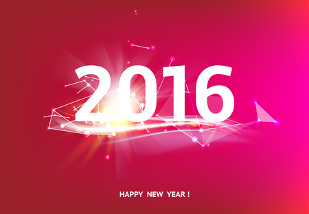 Happy new year card over red background with white polygonal lines. Vector illustration.