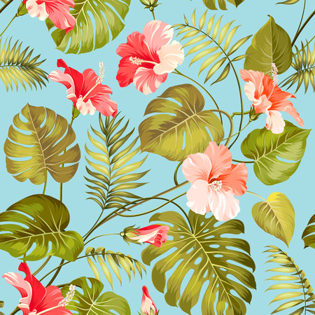 monstera leaf: Seamless tropical pattern. Blossom flowers for seamless pattern background. Vector illustration.