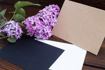 wooden color: Syringa flowers with empty color paper on wooden table.
