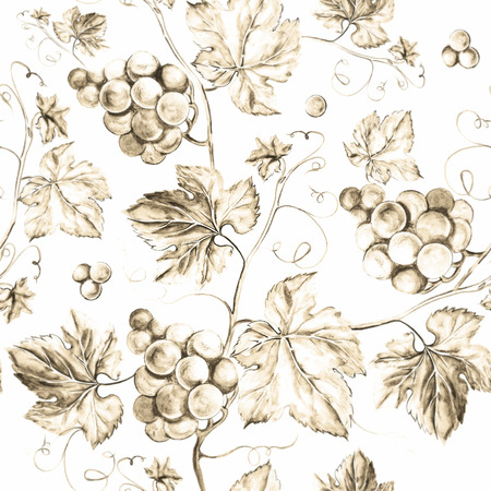 vine leaves: Vine seamless background. Old style sepia background. Watercolor illustration