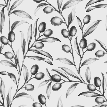Seamless olive bunch fabric background. Old style sepia background. Watercolor illustration.