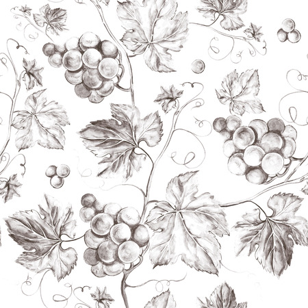 Vine seamless background. Old style sepia background. Watercolor illustration