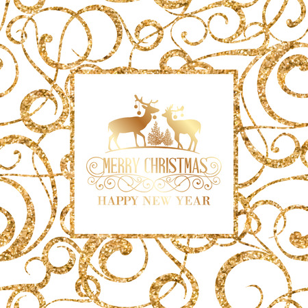 retro christmas: Deer silhouette over golden christmas frame. Vector illustration. Illustration
