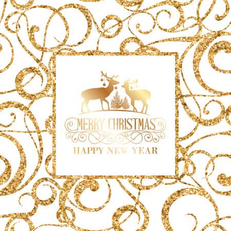 Deer silhouette over golden christmas frame. Vector illustration. Illustration
