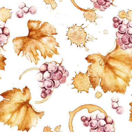 red grape: Wine seamless pattern on a white background. Watercolor hand drawing marks.