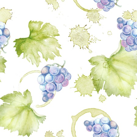Wine seamless pattern on a white background. Watercolor hand drawing marks.