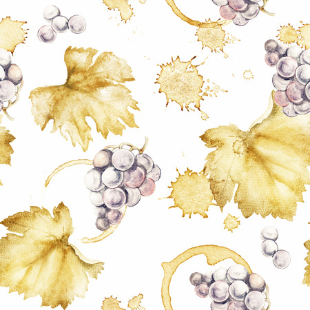 vineyards: Wine seamless pattern of Wine stain circles and leaves on a white background. Watercolor hand drawing marks.