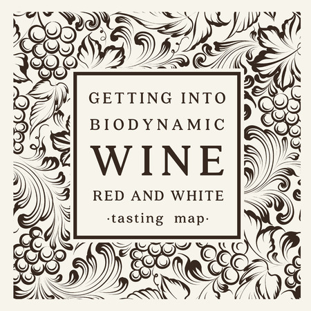 ワイン、グラス、ブドウの房のボトルのラベル