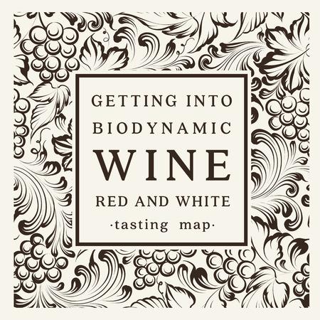 Label voor een fles wijn, glazen en een tros druiven