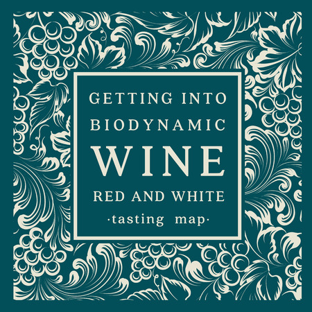 vino: Etiqueta para una botella de vino con un racimo de uvas. Ilustración del vector.