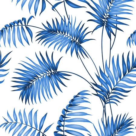 topical: Topical palm leaves on seamless pattern. Vector illustration.