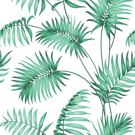 palm leaves: Topical palm leaves on seamless pattern. Vector illustration.