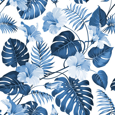 banana leaves: Seamless pattern of a palm tree branch. Vector illustration.