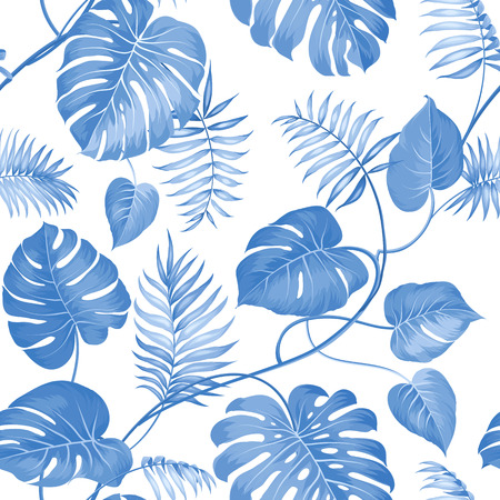 rainforest background: Topical palm leaves on seamless pattern for fabric texture. Vector illustration. Illustration