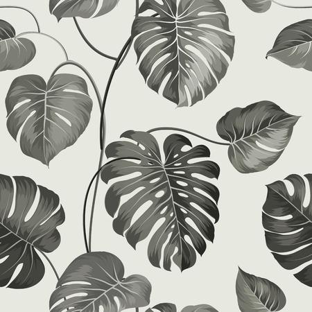 motif floral: Paume topique laisse sur pattern. Vector illustration.