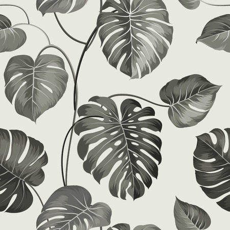 gray pattern: Topical palm leaves on seamless pattern. Vector illustration.