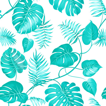 leaf pattern: Topical palm leaves on seamless pattern for fabric texture. Vector illustration. Illustration