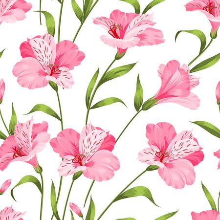 alstroemeria: Beautiful alstroemeria on seamless background. Vector illustration.