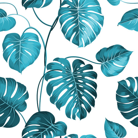 macro leaf: Topical palm leaves on seamless pattern. Vector illustration.