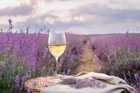 wineglasses: Bottle of wine against lavender landscape in sunset rays.