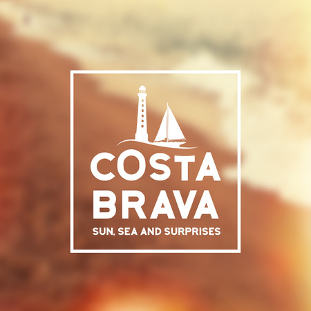 coast: Costa Brava souvenir print with text for t-shirt graphic and other. Vector illustration.