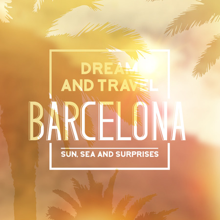 barcelona: Barcelona travel print with text for t-shirt graphic and other. Vector illustration.