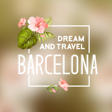 promenade: Barcelona travel print with text for t-shirt graphic and other. Vector illustration.