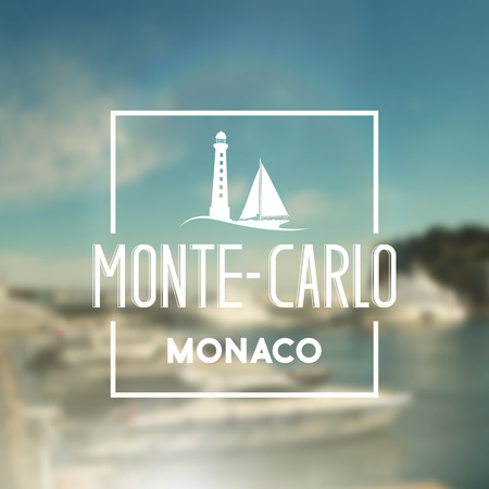 harbor: Monte-carlo travel print with text for t-shirt graphic and other. Vector illustration. Illustration