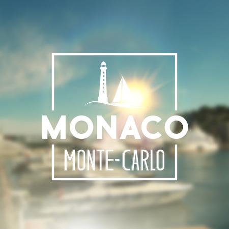 bay area: Monaco travel print over blurred background. Vector illustration. Illustration