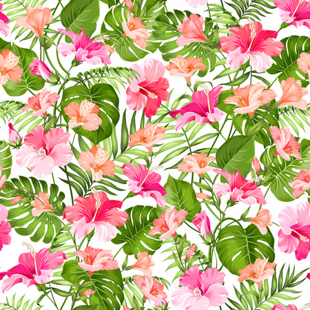 resort: Topical palm leaves and beautiful alstroemeria on seamless background. Vector illustration.