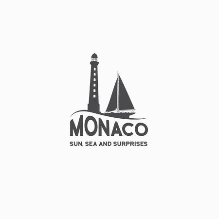 bay area: Monaco travel print over white background. Vector illustration.