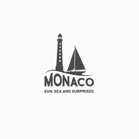Monaco travel print over white background. Vector illustration.