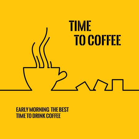 taza cafe: diseño de la línea del icono de la taza de café. Resumen de fondo taza de café. Para aplicaciones móviles, ilustración, diseño, plantilla, información de negocios gráfico, presentación, tarjeta de invitación. Ilustración del vector.