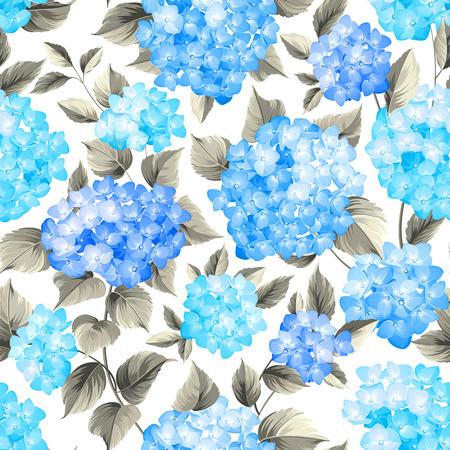 flores moradas: Purple hortensias flor en el fondo sin fisuras. La cabeza de la fregona patrón de flores de hortensia. Flores azules hermosas. Ilustración del vector.