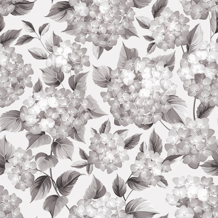 Purple flower hydrangea on seamless background. Mop head hydrangea flower pattern. Beautiful sepia flowers. Vector illustration.