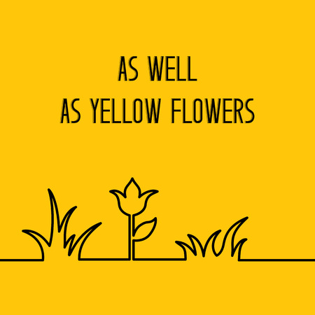 grass line: Yellow summer floral background. Line in form of grass bushes and single flower isolated over orange background. Vector illustration.